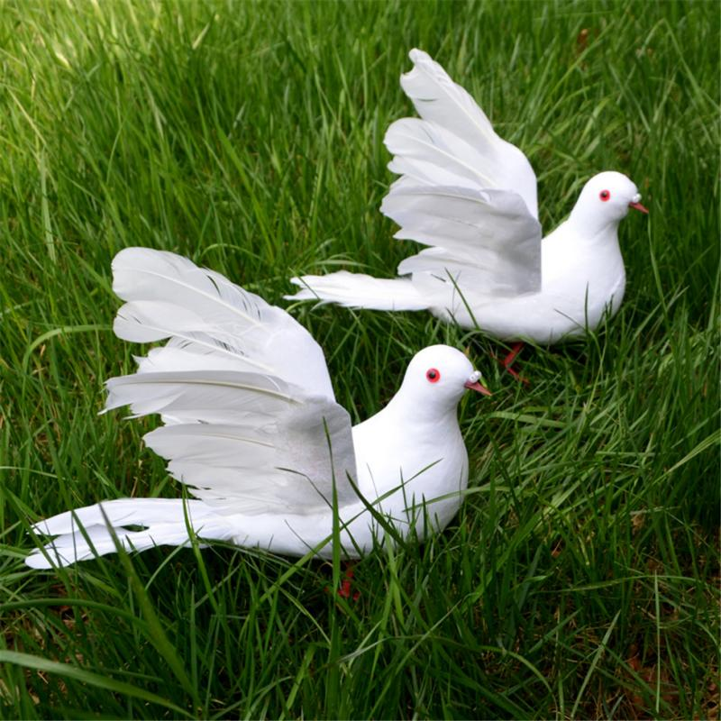 2 Pcs Artificial Feathered Pigeon Fake Doves Birds Statue - Funny Sculpture Ornaments Decor - Indoor Outdoor Yard Art Figurines