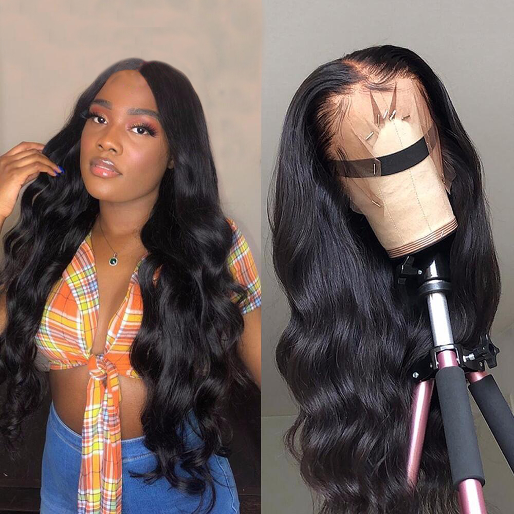 Lace Front Human Hair Wigs Free Part 13x4 Long Glueless Wavy Brazilian Body Wave Lace Closure Wig For Black Women