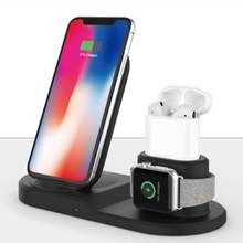 Soporte de cargador inalámbrico para airpods iPhone Apple Watch, cargador de estación de carga para Apple Watch Series 4/3/2/1 iPhone X 8 XS(China)