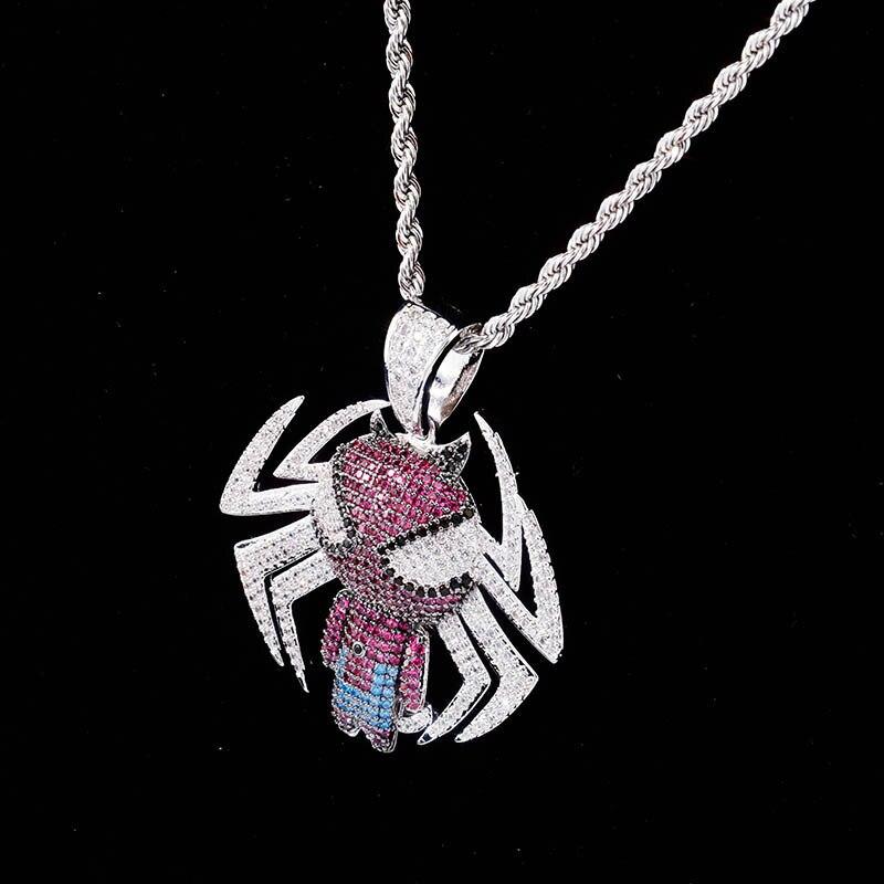 Dessin animé spider man voiture rétroviseur pendentif Zircon suspendus ornements Auto décoration accessoires hip-hop hipster collier