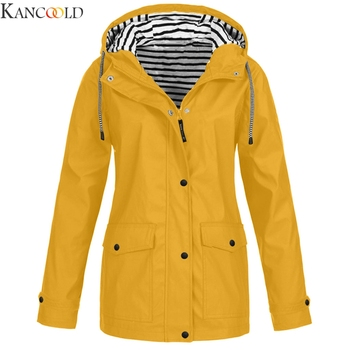 KANCOOLD Women Autumn Fashion Solid Rain Outdoor Plus Hooded Raincoat Windproof Coat Solid Big Pocket Jacket Outwear New image