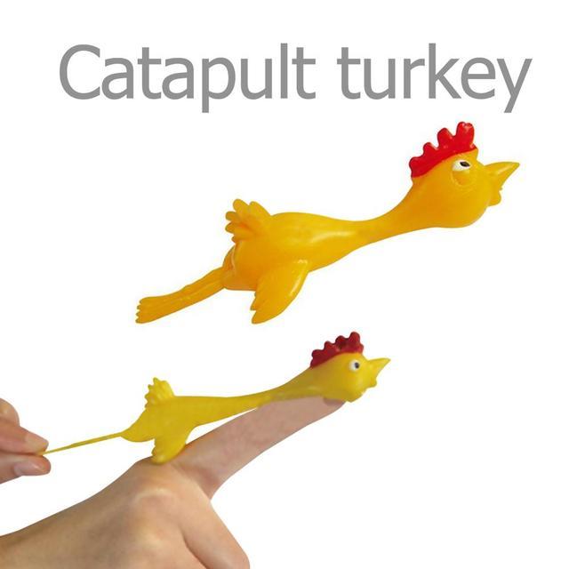 11.5CM Novelty Gags & Practical Joke Toys Funny Laugh Rubber Chicken Stretchy Flying Turkey Finger Birds Sticky Random Color
