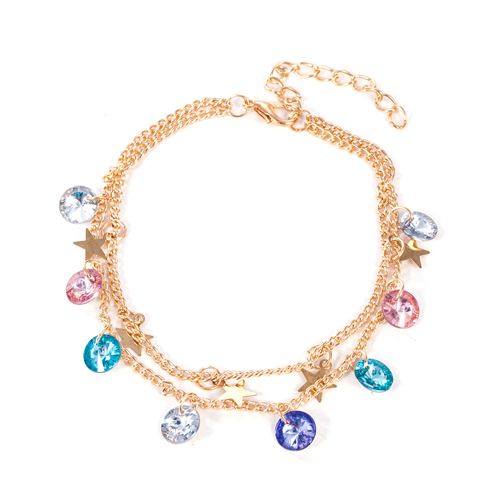 Modern Simple Multi-layer Star Anklets Set for Women Vintage Handmade Anklet Bracelet on Leg Beach Party Ocean Jewelry