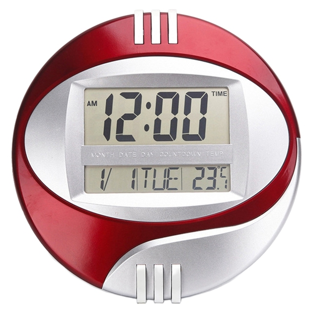 ELEG-Temperature Display Digital Wall Electronic Clock LCD Moderne Calendar LED Bracket Watch Mute Of Home Office Decoration