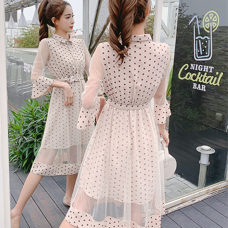 Spring and summer new style Korean version of slimming temperament dress Polka dot flare sleeve dress in Dresses from Women 39 s Clothing