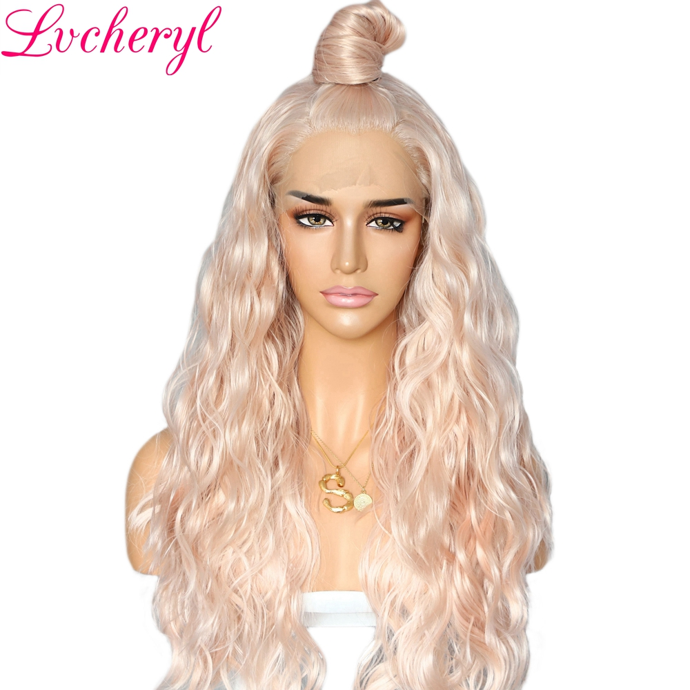 Lvcheryl Natural Wavy Synthetic Lace Front Wigs Peach Blonde Color Heat Resistant Hair Wigs Party Wigs For Women Wear