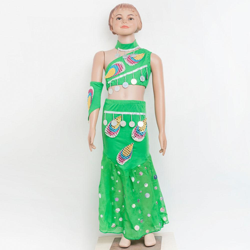 Girls Bollywood Dance Costume Set <font><b>Kids</b></font> Belly Dance <font><b>Indian</b></font> <font><b>Sari</b></font> Children Chiffon Outfit Halloween Top Skirt with headwear 7413 image