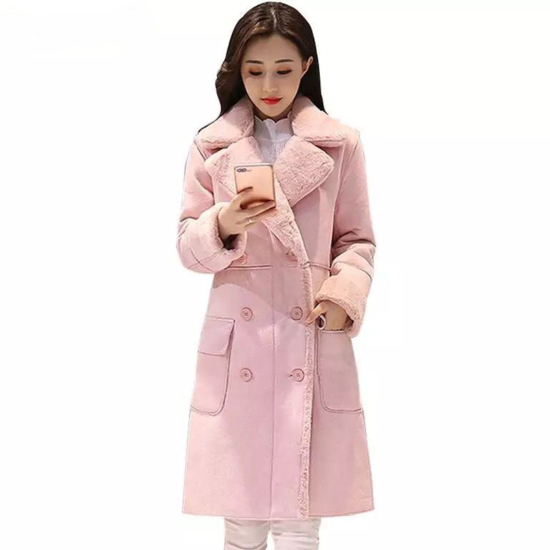 ZADORIN 2019 Winter Suede Faux Fur Jacket Long Sleeve Sheepskin Pink Fur Coat Women Plus Size Elegant Long Overcoat Streetwear