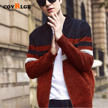 2019 Autumn Winter Men New Casual Cardigan Sweater Jumper Fashion Striped Pocket Knit Outwear Coat MWK007