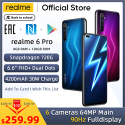 realme 6 Pro Handy 64MP Cam 8GB RAM 128GB ROM Snapdragon 720G Smartphone 90Hz Display 30W-Ladung 4200mAh Handy