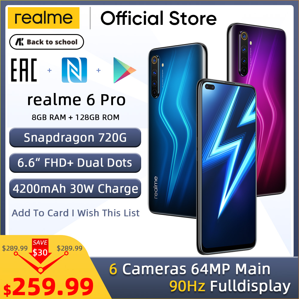 realme 6 Pro Mobile Phone 64MP Cam 8GB RAM 128GB ROM Snapdragon 720G Smartphone 90Hz Display 30W Flash Charge 4200mAh Cellphone(China)