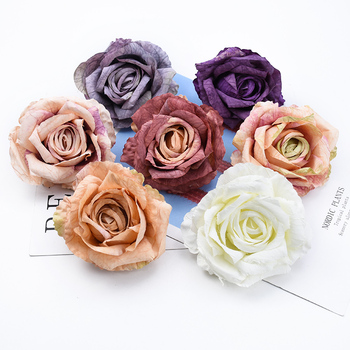 1/5 Pieces 9CM roses head home decoration accessories wedding decorative flowers wall scrapbooking wholesale artificial flowers image