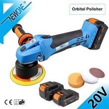 20v dupla ação orbital polisher da ferramenta de polimento do carro velocidade variável lixadeira polidor polimento máquina 125mm m10 lixamento almofada newone