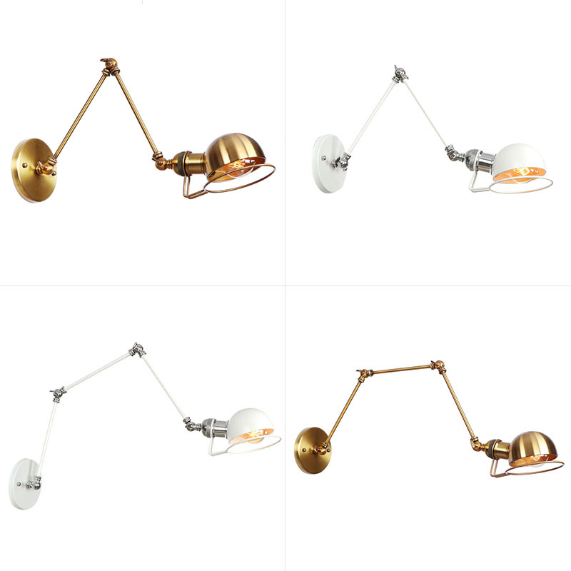 American Vintage Bedside Wall Lamp Adjustable Swing Arm Reading Wall Light Gold Wall Sconces Lighting Fixture for Living Room