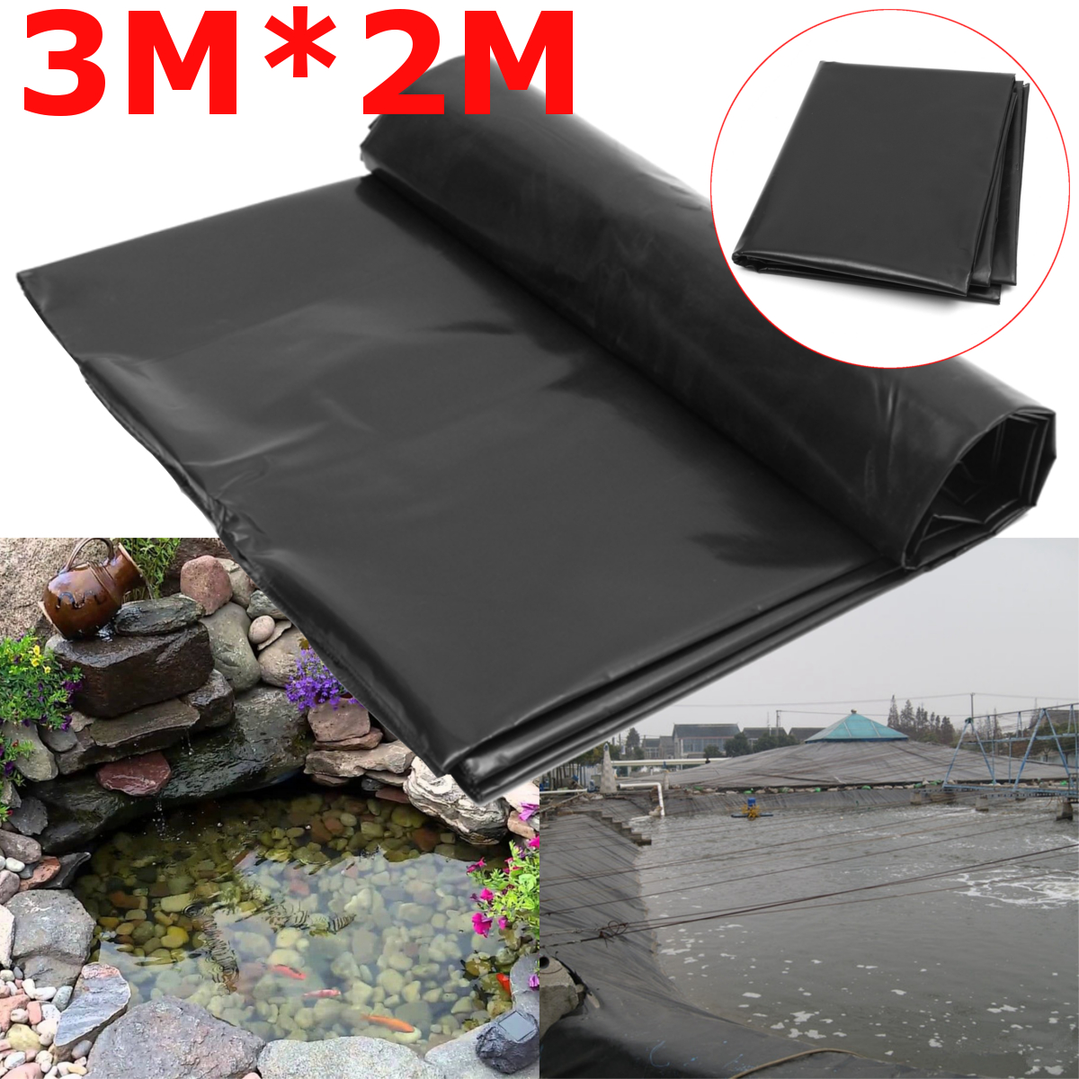 3X2M Black Fish Pond Liner Cloth Home Pool Reinforced HDPE Heavy Landscaping Pool Waterproof Garden Basin Pond Liners Cloth