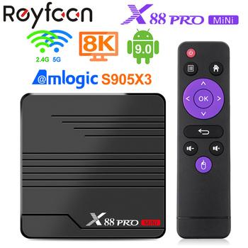 Reyfoon X88 PRO Mini tuner telewizyjny Android 9 0 Amlogic S905X3 4K 60fps odtwarzacz Google odtwarzacz multimedialny Youtube 2GB 16GB 4GB 32GB dekoder tanie i dobre opinie 100 M CN (pochodzenie) Amlogic S905X3 Quad Core ARM Cortex A55 16 GB eMMC 32 GB eMMC HDMI 2 0 2G DDR3 4G DDR3 0 35kg DC 5 V 2 5A