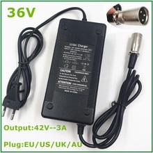 36V sortie 42V 3A vélo électrique chargeur de batterie au Lithium pour 36V Li ion batterie Pack avec prise XLR 3 broches/connecteur ventilateur de refroidissement