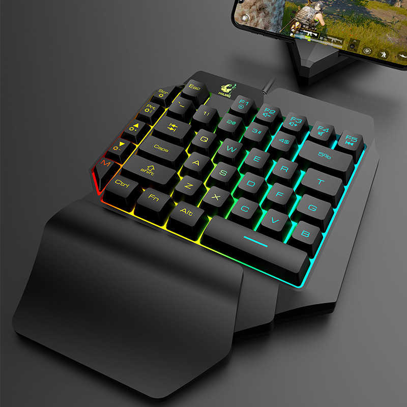 Mini Gaming Keyboard 39 Mobile di Chiavi Tablet con Una sola mano Wired Gioco Tastiera per LOL PUBG CF Gioco Retroilluminazione Colorata tastiera Gamer