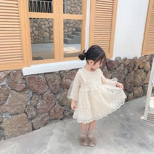 Image 4 - Осенние вечерние платья для девочек на свадьбу; Новые западные платья для малышей; Детское лаковое платье принцессы с длинными рукавами