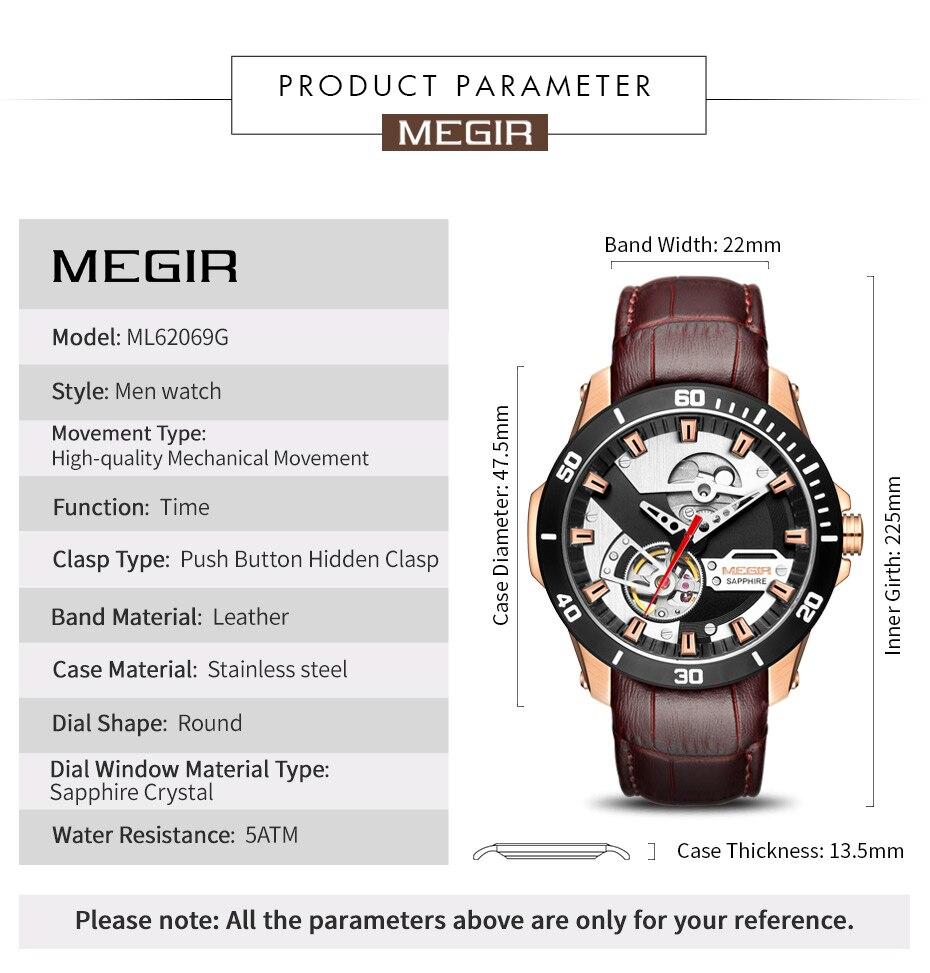 Hc84c14a14180404cbb9900a3c8c93962C MEGIR Men Mechanical Wristwatches Leather Strap Automatic Mechanical