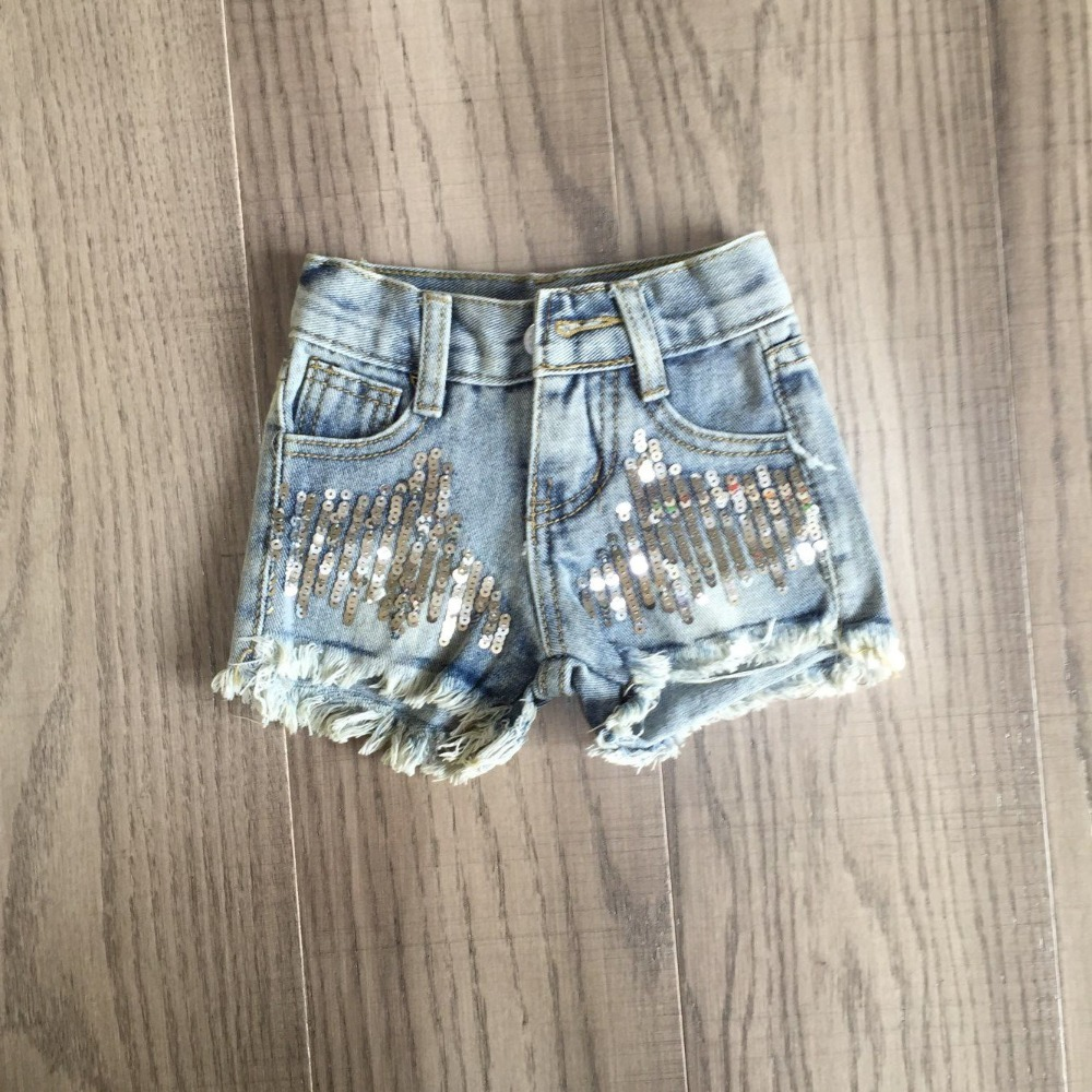 Baby Girls Short Jeans Girls Leopard Shorts With Sequins