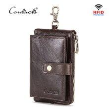 CONTACTS Echtem Leder männer schlüssel brieftasche mit zipper geldbörse kreditkarte halter rfid kurze brieftasche Business männlichen Auto Keychain