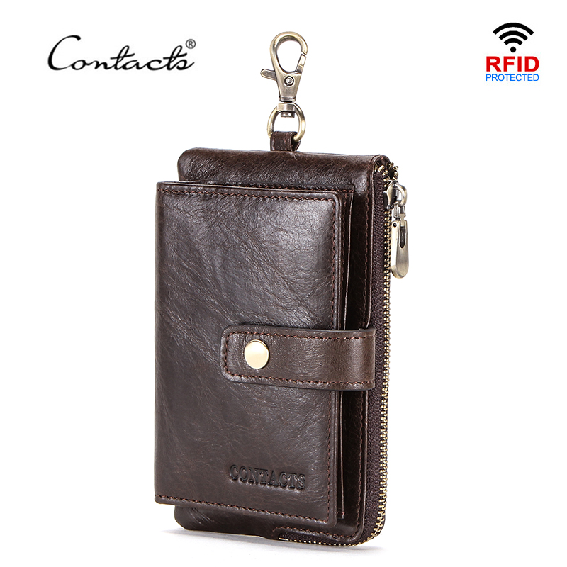 CONTACT'S Genuine Leather Men Key Wallet With Zipper Coin Purse Credit Card Holder Rfid Short Wallet Business Male Car Keychain