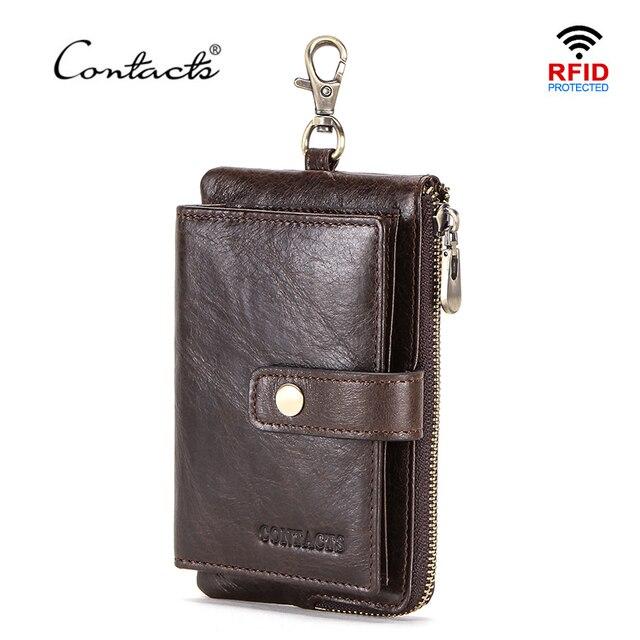 CONTACTS en cuir véritable hommes clé portefeuille avec fermeture à glissière porte monnaie crédit support de carte rfid court portefeuille affaires mâle voiture porte clés
