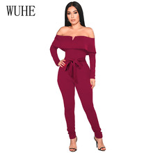 WUHE Off Shoulder Ruffled Straps Jumpsuits Fashion Long Sleeve Hollow Out Bow Bodycon Bandage Female Trousers Women Formal Wear