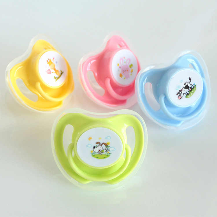 1PC 4 Colors Baby Cotton Animals Printing Pacifiers Safe Food Grade Silicone Cute Baby Round and Flat Nipples Pacifiers