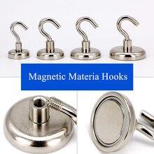 1PC Neodymium N52 Magnet Vertical Pull-force 3KG 4KG 6KG Hook Earth Magnet Multifunction Fridge Sticker Hooks Magnetic Base