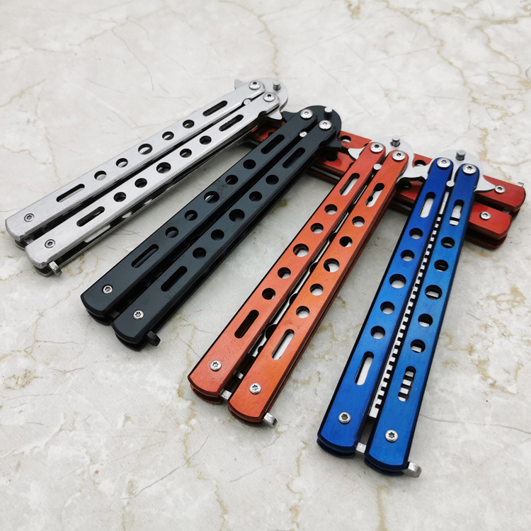 New 440C Steel Training Butterfly Knife Cs Go Comb Balisong Butterfly In Knife No Edge Dull Blade Folding Knives Combat Fight image