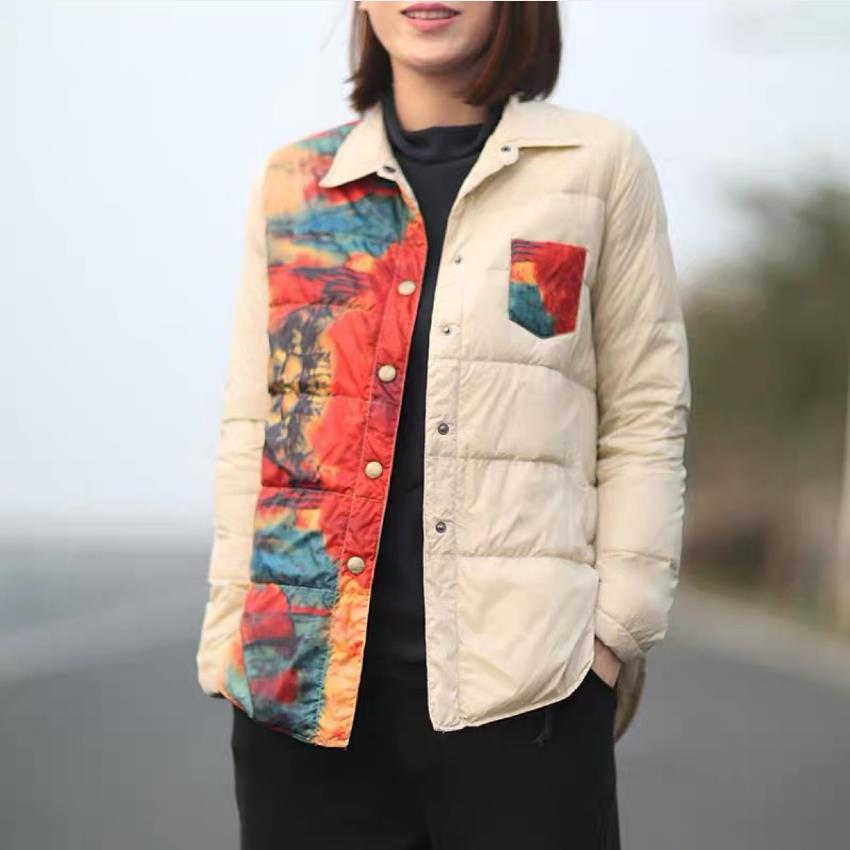 Autumn retro style white duck   down     coat   female light style printed warm   down     coats   soft fluffy   down   jacket parkas F335