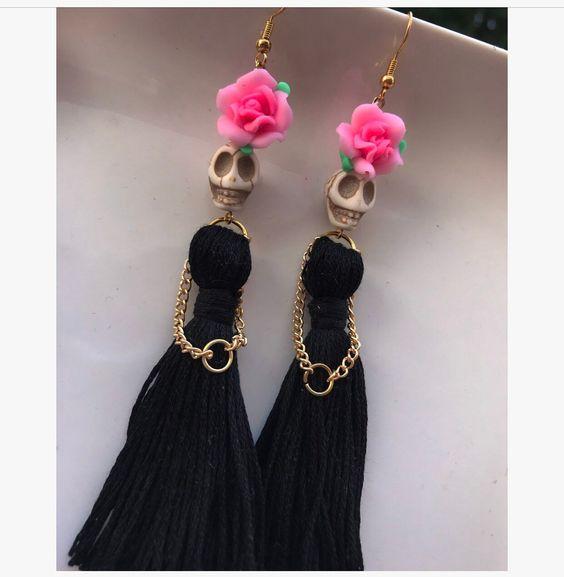 White Skulls with Black Long Tassels Dangle Earrings,gothic Skull ,Drop Earrings,Women New Fashion,day of The Dead Jewelry