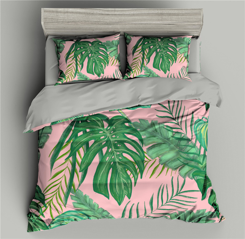 Leaves Pattern 3D Bedding Set Plant Duvet Cover Bedding Comforter Sets Bed Quilt Covers Sets Single/Full/Twin/Queen/King size