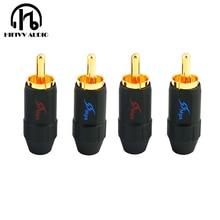 Fish 4B di rame puro placcato oro FAI DA TE audio RCA plug diametro di installazione 4 millimetri 6 millimetri connettore del cavo