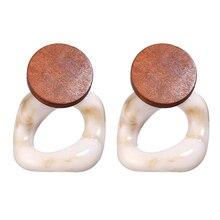 Fashion Big Resin Drop Earrings For Women 2019 New Acetic Acid Large Korea Square Earrings Trendy Wood Geometric Jewelry