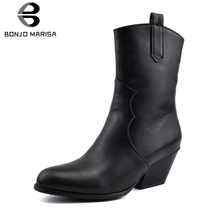 BONJOMARISA New Arrival Plus Size 34-48 Brand High Top Booties Lady Winter Warm Fur Ankle Boots Women 2019 Med Heels Shoes Woman