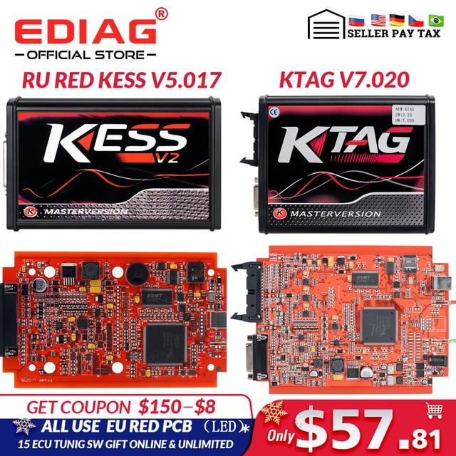 EU Red KESS  V5.017 V2.53 Master ktag V7.020 V2.25 4LED Manager turning kit No Token Reading Limited KESS V2.47 ECU programmer