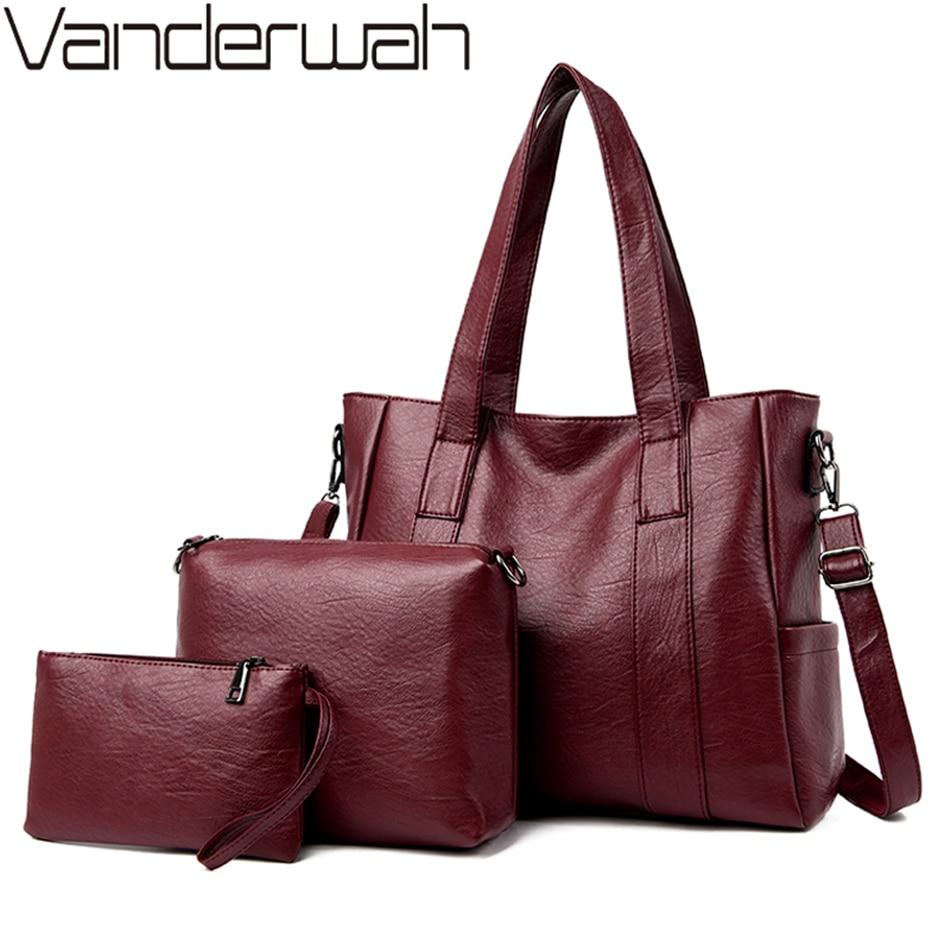 New 3 Set Women Shoulder Bag High Quality Soft PU Leather Ladies Luxury Handbags Women Bags Designer Large Capacity Tote Bag Sac