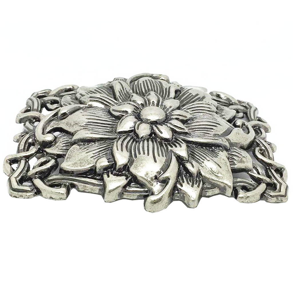 Rectangle 3D Buddha Lotus Flower Belt Buckle Western Cowboy Cowgirl Vintage