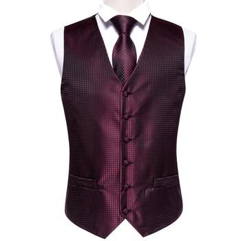 Designer Mens Classic Black Paisley Jacquard Folral Silk Waistcoat Vests Handkerchief Tie Vest Suit Pocket Square Set Barry.Wang 19