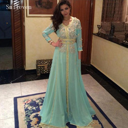 Smileven Moroccan caftan Evening Dresses Gold Lace Appliques Mint Green Arabic Muslim Special Occasion Dress Evening Party Gowns