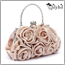 Women Satin Rose Pure Color Handbag Evening Bags Wedding Handbags luxury Handbags Women Bags designer Flower bolsa clutch Bag
