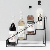 4 ボトルワイヤーdiplayラック/moninシロップラックコーヒー収納ラック多機能ミルクティーカップラックディスプレイ
