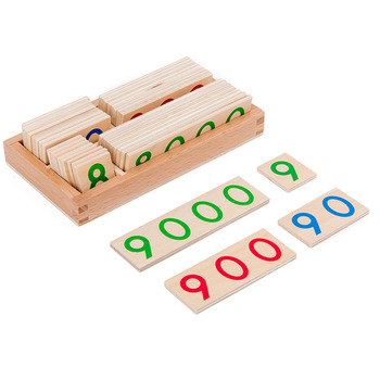 Montessori mathematics teaching aids toys wooden 1-9000 digital cards children's early learning mathematics educational toys