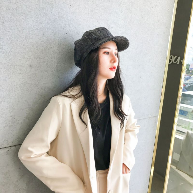 Wool Stylish Artist Painter Newsboy Caps Women Beret Autumn Winter Octagonal Cap Hats Black Grey Fashion Beret Hats Hot