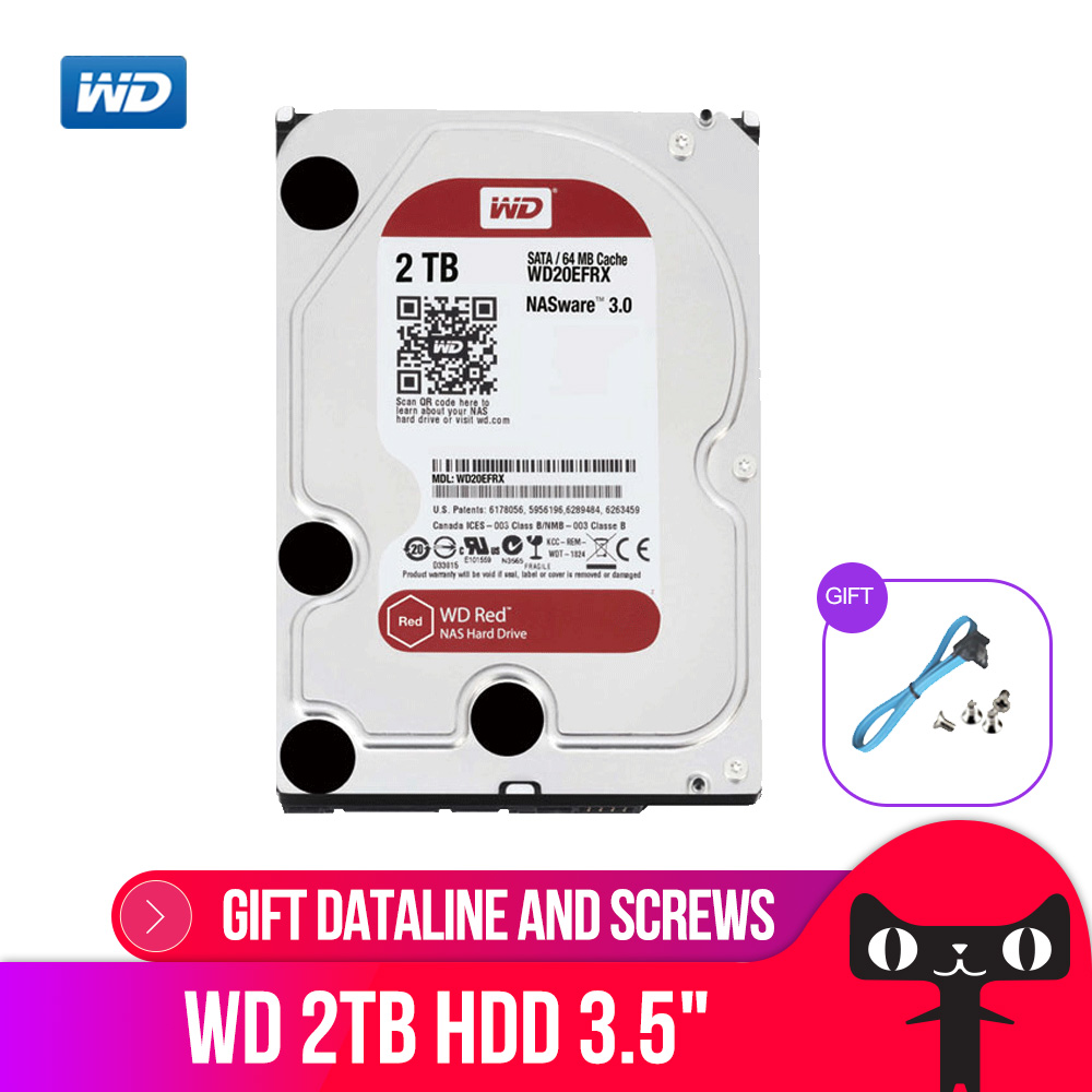 Hard-Disk-Drive 4TB Western Digital Wd Red NAS 3TB Decktop 2TB 5400 RPM 64MB for 24/7-Environment