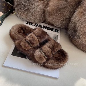 Image 3 - Luxurious Mink Fur Slippers One Strap Flat Feather Slides Outdoor 2020 Spring New Casual Mules Flipflops Coffee Brown Sandals