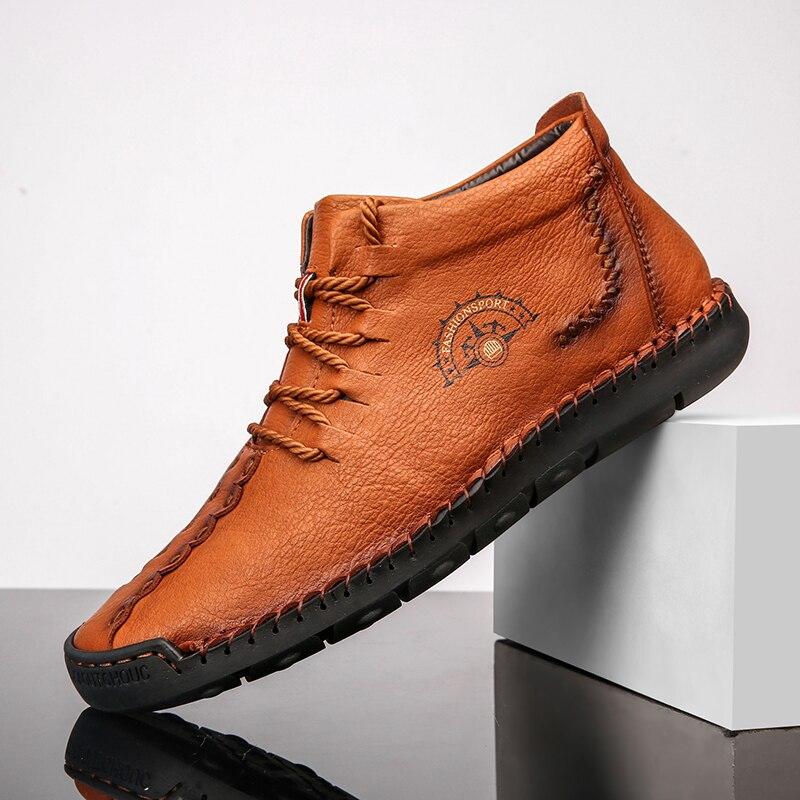 Chaussures hommes haut en cuir véritable chaussures plates automne chaussures mode bottines chaussures en plein air marche chaussures Zapatos Hombre